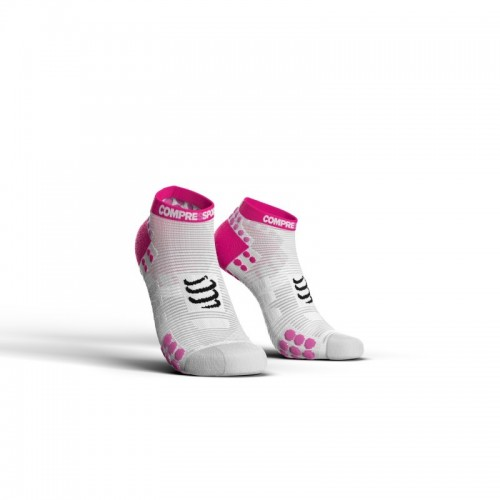 COMPRESSPORT Chaussettes Low  Blanche/Rose