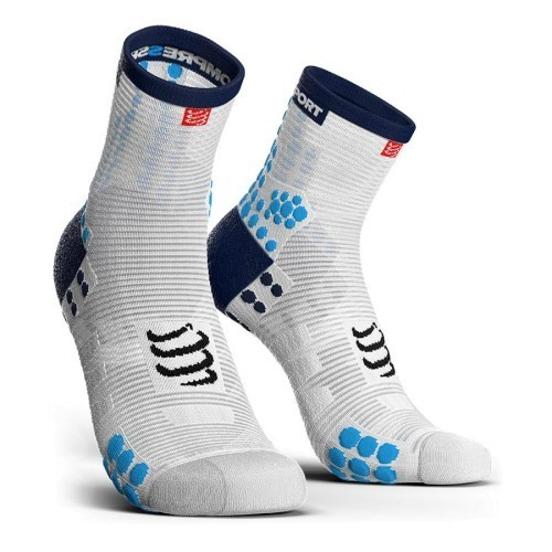 COMPRESSPORT Chaussette High Blanche/Bleu