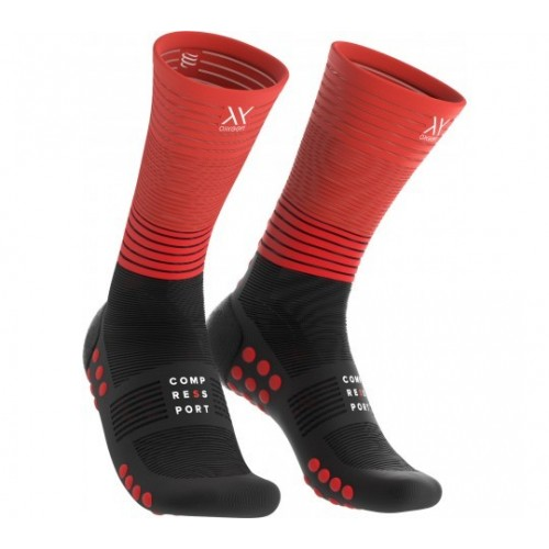 COMPRESSPORT MID COMPRESSION SOCKS Noir/Rouge