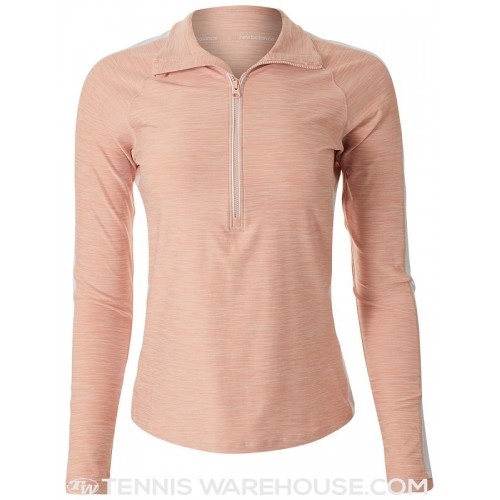 NEW BALANCE Maillot 1/2 Zip W Rose Blanc