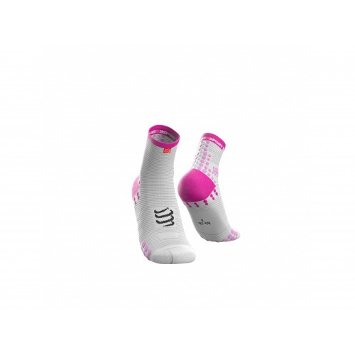COMPRESSPORT Chaussettes Run Pro Blanche/Rose