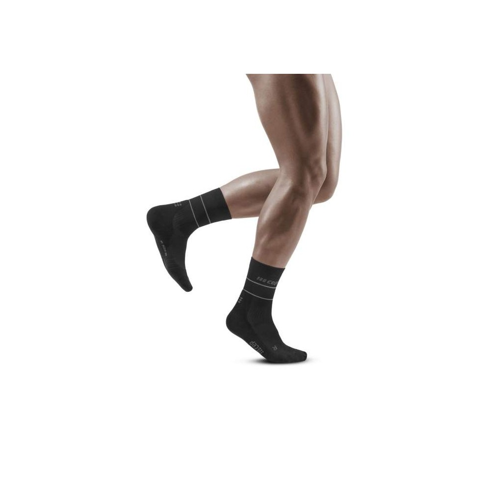 CËP Reflective Compression Mid cut Socks W Black