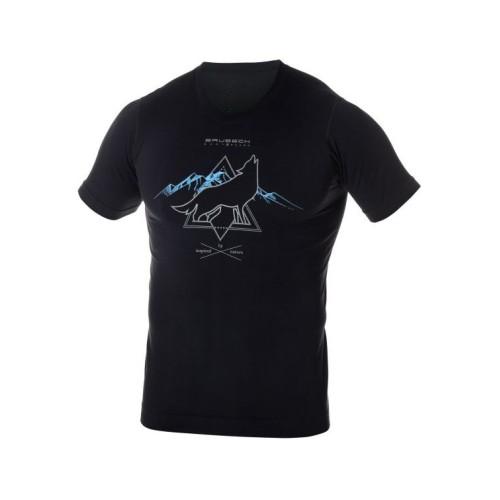 BRUBECK T-Shirt Thermique Homme OUTDOOR WOOL Noir Loup